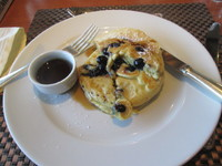 Room Service Blueberry pancakes .