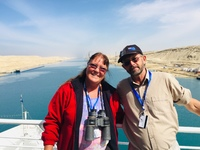 That's us, loving every moment of the cruise, specially the Suez Canal.