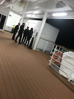 The crew can be found smoking on the smoking deck.