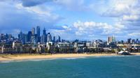 View of St Kilda Esplanade and Melb skyline from QE Deck 10