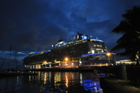Ovation of the Seas berthed in Papeete, during overnight stop