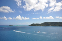 Partial view of Bora Bora's lagoon from our balcony