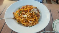Spaghetti Bolognese at Bone Fish Bar and Grill was excellent!
