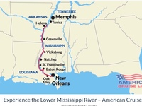 Itinerary Map of Cruise from Memphis to New Orleans