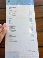 Drinks menu and prices