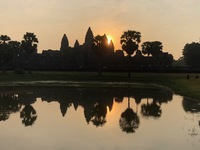 Sunrise at Siem Reap, with champagne breakfast at a monastery after!