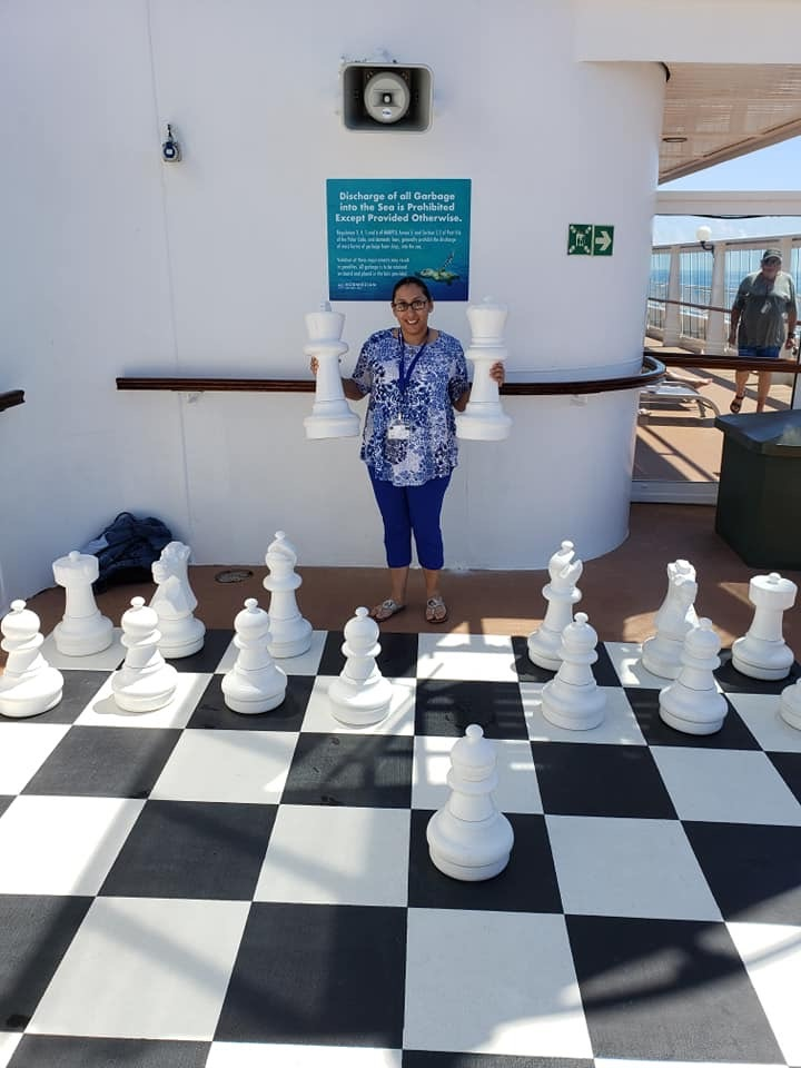 Hanging out on the ship and enjoying a fun game of chess!