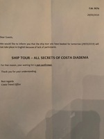 The notice of cancellation for the ship tour with clear notice of discrimin