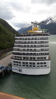 Another cruise ship and the beautiful Alaska scenery.
