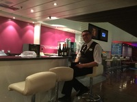 Our friendly barman in the Studio Lounge
