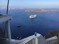 The Emerald Princess waiting for us , Santorini from the chairlift.