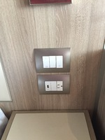 outlets at bedside table