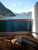 Balcony view of fjords.
