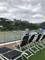 Viewing castles from the top deck in the Rhine Valley