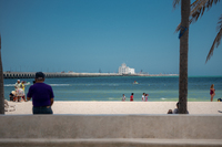 Progreso beach and pier to the ships dock.