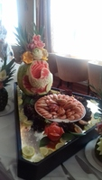 Beautiful food presentation in buffet.