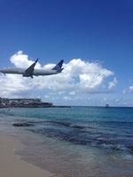 Maho beach near the airport in St. Maarten