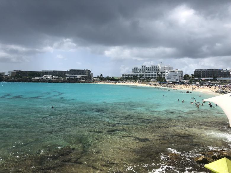 Maho Beach, famously known for airplanes flying right over your head.