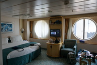 cabin 2568, before beds were separated - two large portholes, sofa bed is o