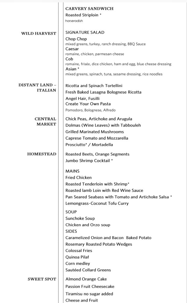 Gala night menu in Lido