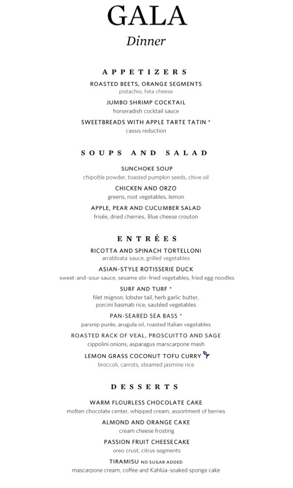 Gala night menu in MDR