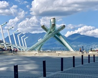 The Olympic torch statue in Vancouver