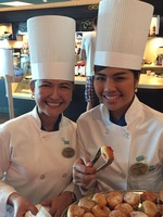 Wonderful Filipino staff, greeting and serving pastries