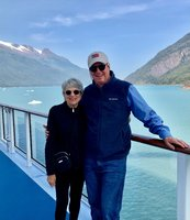 On the promenade deck going up the fiord to Dawes Glacier.