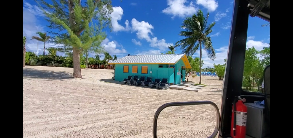 Beach wheelchairs available at Cococay