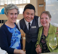 Our server Lourdes with me and Sherry Martin after dinner on July 22.  She