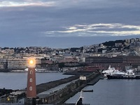 Beautiful welcoming Lighthouse when were came into the port at Naples Italy