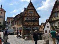 The leaning house in Rothenburg ob der Tauber which was an optional tour.