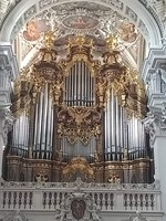 The grand pipe organ at St. Stephan's Cathedral, Passau, Germany