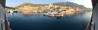 The view from our veranda as we entered the port of Monte Carlo Monaco.