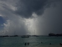 A storm moving off the coast of Grand Turk