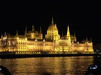 Night arrival in Budapest, parliament building