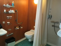 A nice big bathroom in cabin #9648 - wheelchair accessible.