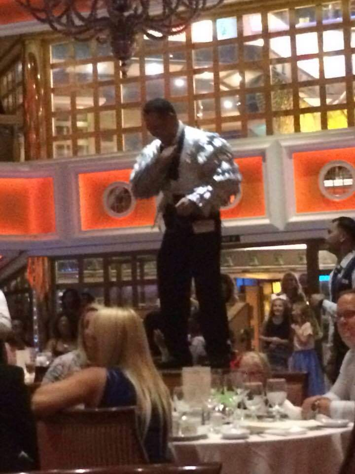 dancing waiter in Main Dining room - great food too !