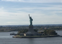 Sailing away from port in Manhattan - Lady Liberty