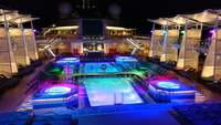 Pools area at night