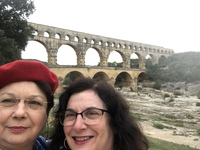 We pose in front of the ancient Roman aqueduct