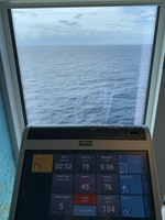 At the gym working out overlooking the ocean