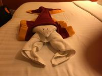 Sasih created this Towel Lobster for our bed on the last night. So creative
