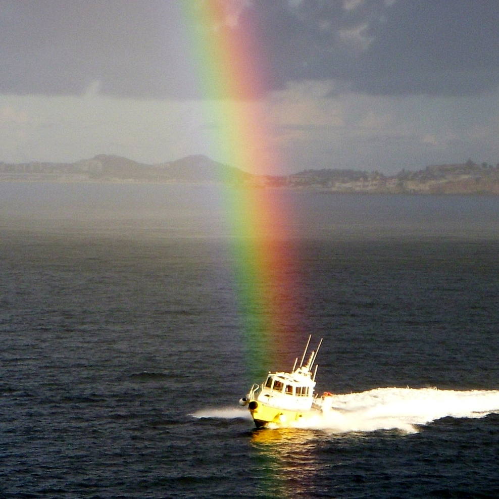 rainbow over the pilot boat - as we entered St. Martin