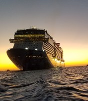 Our beautiful ship at sunrise from the ferry to our Cabo San Lucas excursio