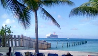 Beautiful view of ship from my chaise lounge relaxing on Princess Cay☺