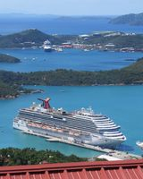 Carnival Breeze docked in St.Thomas. Picture was taken after riding  the sk