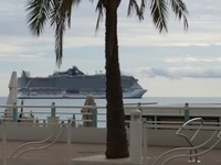 Shot of ship from port of Cannes