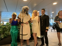 Captain Erwan LeRouzic with King Neptune and his entourage at the Equator c