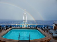 Double rainbow seen from the The Outrigger.